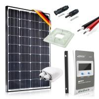 Saulės baterijų komplektas kemperiui 100W su MPPT 10A krovimo reguliatoriumi