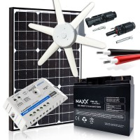 Komplektas - vėjo jėgainė 90W, akumuliatorius 70Ah, saulės modulis 170W MAXX