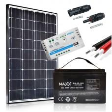 Saulės baterijų komplektas su akumuliatoriumi 100W 12V / 100AH