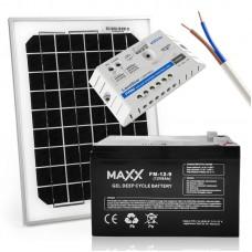 Saulės baterijų komplektas su akumuliatoriumi 10W 12V / 9AH