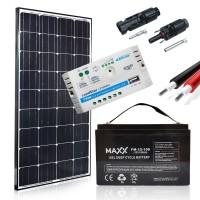 Saulės baterijų komplektas su akumuliatoriumi 130W 12V / 100AH