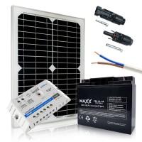 Saulės baterijų komplektas su akumuliatoriumi 20W 12V / 18AH