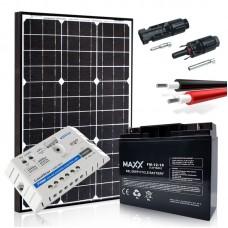 Saulės baterijų komplektas su akumuliatoriumi 50W 12V / 18AH