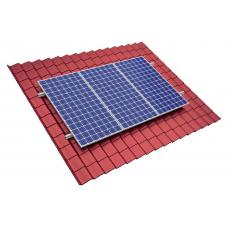 Laikiklių komplektas saulės moduliams plieninei stogo dangai